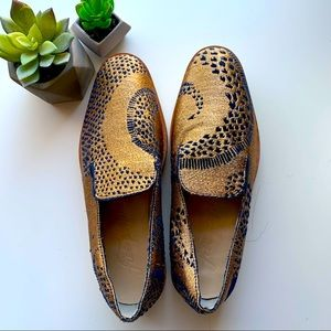 Free People Snake Eyes Loafer In Gold